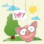 ładny kolaż z śmieszna świnia — Wektor stockowy