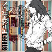 Vectorillustratie van een mooie mode meisje en oude tram. — Stockvector