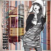 Fashion girl and old tram. — Stock Vector
