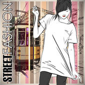 Fashion girl and old tram. — ストックベクタ