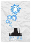 Abstract vector illustration of factory and snowflakes. — Stock Vector