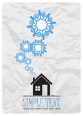 Ilustración vectorial abstracto de la casa y los copos de nieve. — Vector de stock
