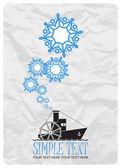 Abstract vectorillustratie van stoomschip en sneeuwvlokken. — Stockvector