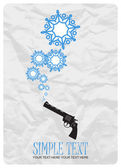 Abstract vector illustration of revolver and snowflakes. — Stock Vector