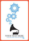 Abstract vector illustration of retro gramophone and snowflakes. — Stock Vector