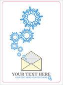 абстрактные векторные иллюстрации конверт и снежинки. — Cтоковый вектор