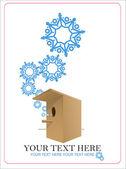 εικονογράφηση φορέας αφηρημένη birdhouse και νιφάδες χιονιού. — Διανυσματικό Αρχείο