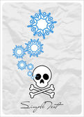Abstract vector illustration of cranium and snowflakes. — Stock Vector