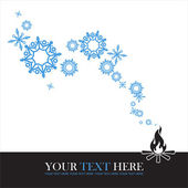 Abstract vector illustration of fire and snowflakes. — Stock Vector