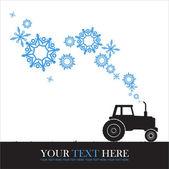 トラクターと雪片の抽象的なベクトル イラスト. — ストックベクタ