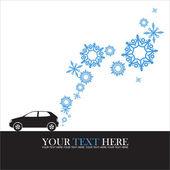 車と雪片の抽象的なベクトル イラスト. — ストックベクタ