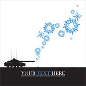 Abstract vector illustration of tank and snowflakes. — Stock Vector