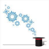 魔法の帽子と雪片の抽象的なベクトル イラスト. — ストックベクタ