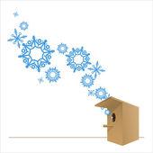 巣箱と雪片の抽象的なベクトル イラスト. — ストックベクタ