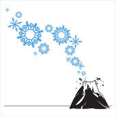 Abstract vector illustration of volcano and snowflakes. — Stock Vector