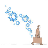 Abstract vector illustration of man with travel bag and snowflakes. — Stock Vector