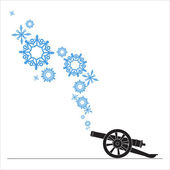Abstract vector illustration of ancient artillery gun and snowflakes. — Stock Vector