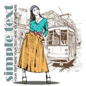 Vektorové ilustrace hezká móda dívka a historické tramvaje. — Stock vektor