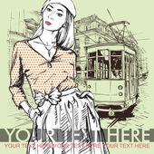 Moda güzel kız ve eski tramvay. — Stok Vektör