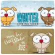 Winter card with cartoon dog — Stock Vector