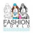 Placard with fashion girl — Imagen vectorial