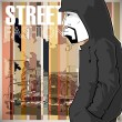 Graffiti character on a street-background. — Stock Vector