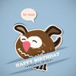 Happy birthday greeting card with dog — Stock Vector #33293249