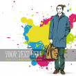 Stylish dude with bag on a grunge background — Stock Vector