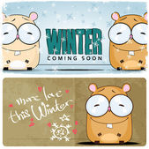 Winter card with cartoon hamster — Stock Vector