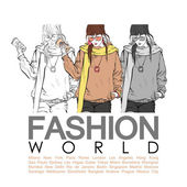 Placard with fashion girl — Cтоковый вектор