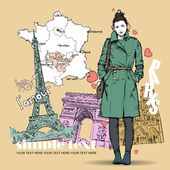 Winter girl on a french background — Stock Vector