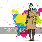 Winter girl in sketch-style — Vector de stock