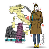 Winter girl on a italian background — Stock Vector