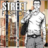 Snygg kille på gatan-bakgrund — Stockvektor