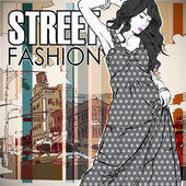Fashion girl on a street background — Stock Vector