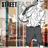 Stylish guy on a street-background — Stock Vector
