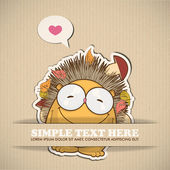Paper cartoon hedgehog — Stock Vector