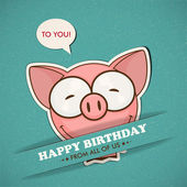 Happy birthday greeting card with pig — Stock Vector