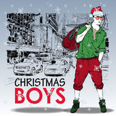Stylish christmas boy — Stock Vector