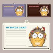 Set di carte messaggio vettoriale — Vettoriale Stock