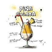 Cocktail Pina Colada — Stock Vector
