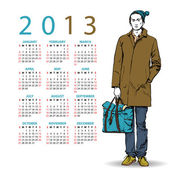 2013. Calendar with stylish dude. — Cтоковый вектор