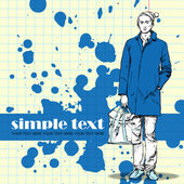 Stylish dude with bag on a grunge background — ストックベクタ