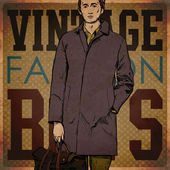 Stylish man with bag on a grunge background — Vector de stock