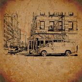 Vintage straat achtergrond — Stockvector