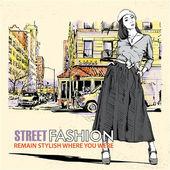 Chica de moda en un fondo de calle — Vector de stock