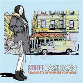 мода девушка на фоне улица — Cтоковый вектор