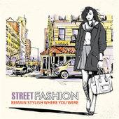 Fille fashion sur un fond de rue — Vecteur
