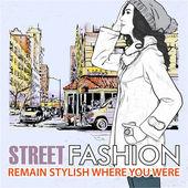 Mode flicka på gatan bakgrund — Stockvektor