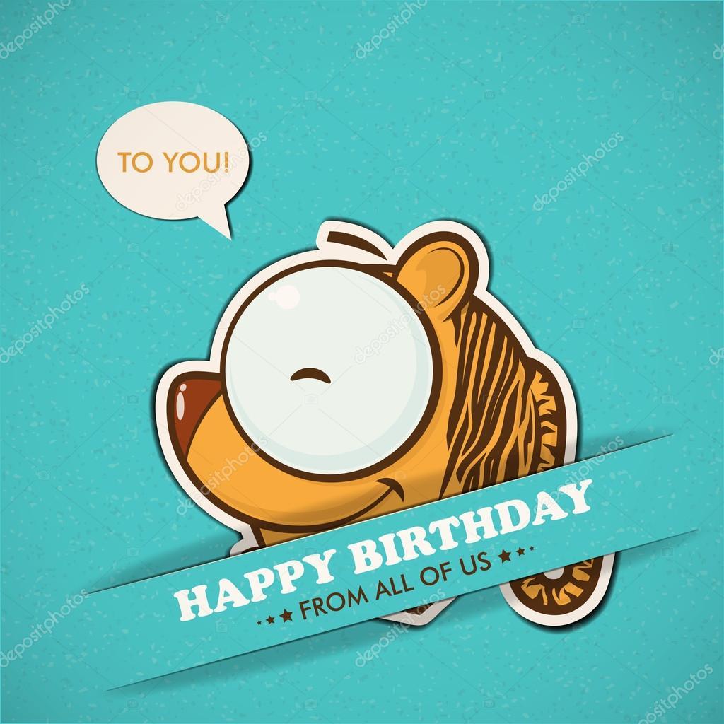 Auguri di buon compleanno con tigre — vettoriali stock r